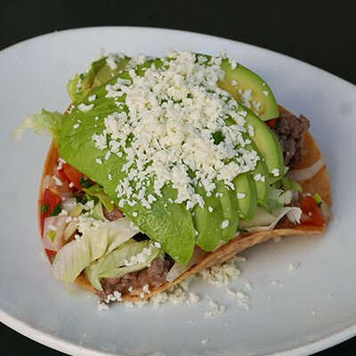 Avocado, Bean and Beef Tostada Recipe